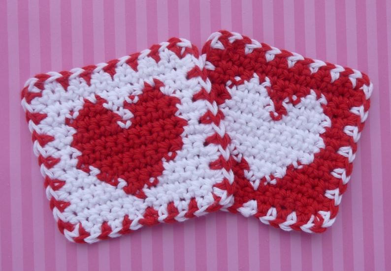 Heart Coaster Knitting Pattern : Whiskers & Wool: Heart Coaster - Free Pattern
