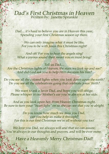 Priceless image inside my first christmas in heaven poem printable