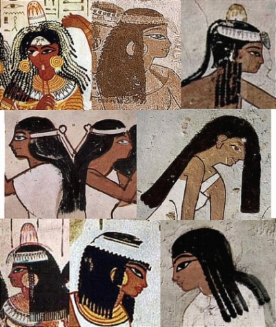 Egyptian hairstyles in the midst of the beauty of the remnants of Ancient