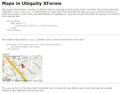 Ubiquity XForms Google Maps API screenshot