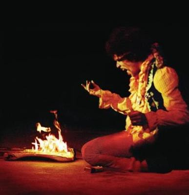 jimi hendrix, guitar burn