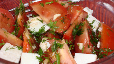 Tomato and feta salad with fresh herbs and balsamic vinegar