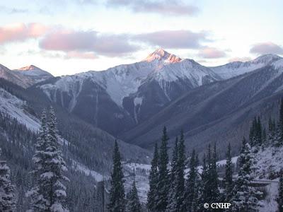 pretty snow covered mountain scene