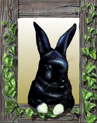 Bunny Art In Ivy Frame