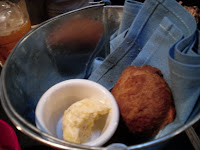 Complimentary Johnny Cakes with sweet herbed butter at the Main Street location of The Reef