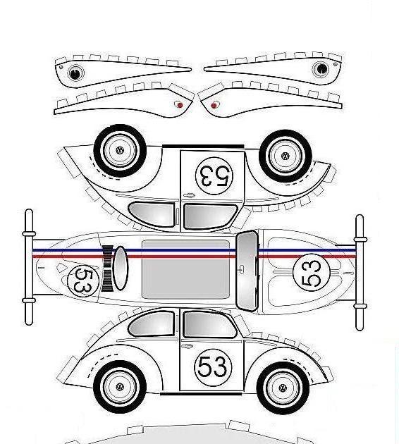 SP. Papel Modelismo: PaperCraft - Fusquinha Herbie