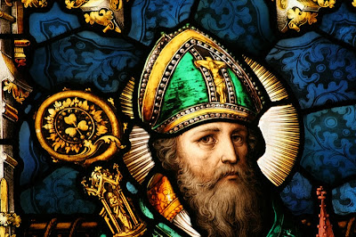 St. Patrick, taken from http://atonementparish.blogspot.com/2010/03/st-patricks-breastplate.html