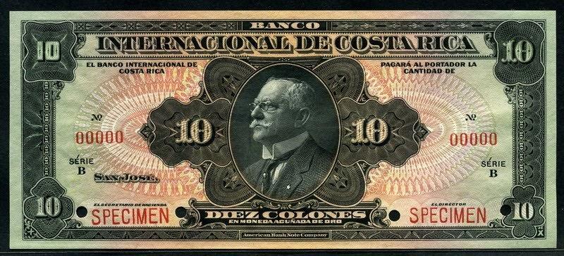 Costa rica 10 colones banknote 1916 1936 banco for Banco internacional
