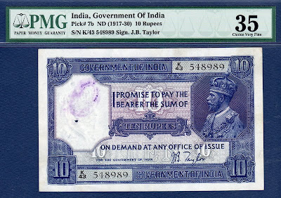 British India currency banknotes values 10 Ten Rupees King George V