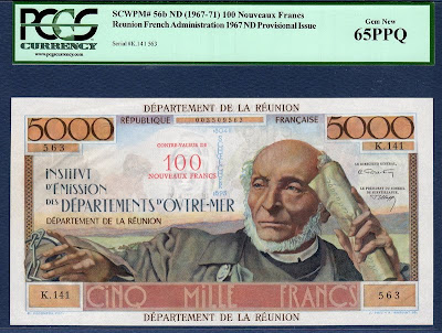 Reunion currency banknotes values 100 Nouveaux Francs on 5000 Francs