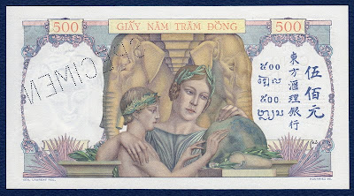 500 Piastres French IndoChina 1939 Specimen banknote