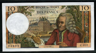 France currency banknotes values Banque de France 10 ten French Francs from 1967 Voltaire