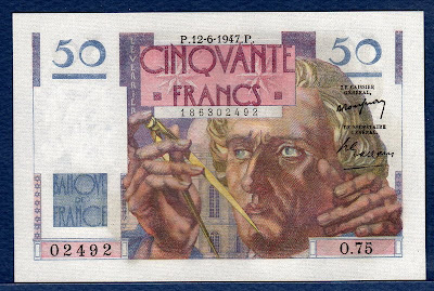 France currency banknotes values 50 French Francs