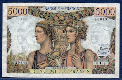 France currency banknotes values 5000 French Francs