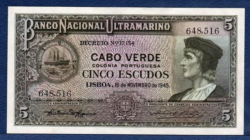 Cape Verde Banknotes 5 Escudos Note Of 1945 Bartolomeu