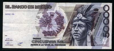 World paper money Mexico 50000 Pesos Cuauhtémoc banknote