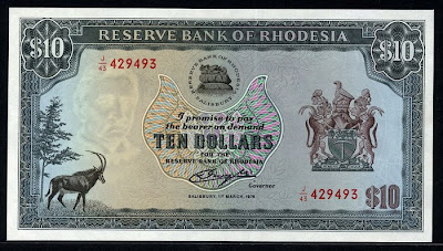 Currency Of Rhodesia 10 Dollars Note Of 1976 Reserve Bank