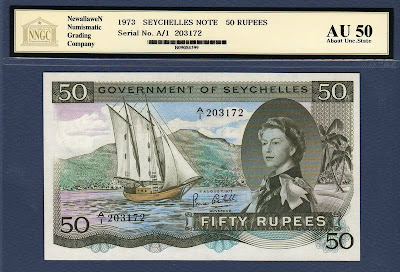 Seychelles banknotes money currency 50 Rupees banknote Queen Elizabeth