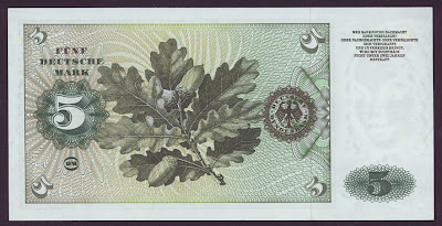 Germany Paper Money 5 Deutsche Mark banknote