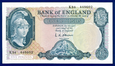 Helmeted Britannia 5 British Pounds banknote currency, Paper Money GREAT BRITAIN