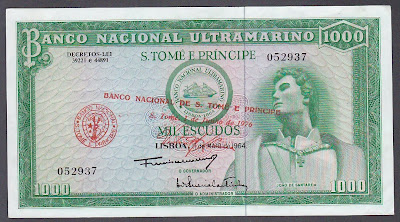 Saint Thomas & Prince banknotes 1000 Escudos bank note, Banco National Ultramarino