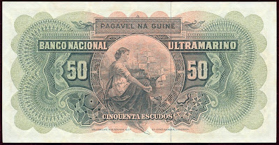 Banco National Ultramarino banknotes 50 Escudos note bill
