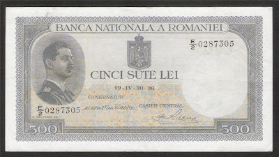 Paper Money Romania 500 Lei banknote King Carol II