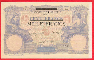 Tunisia and Algeria paper money 1000 francs on 100 francs banknote GERMAN OCCUPATION Paper Money Rommel African corpus