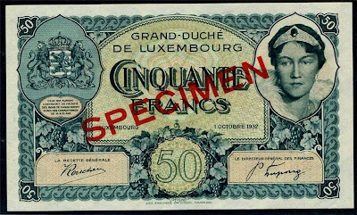 European Currency collection Luxembourg 50 Francs Specimen Banknote