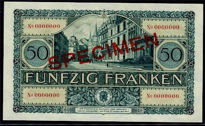 European Currency Luxembourg 50 Francs Specimen BankNote