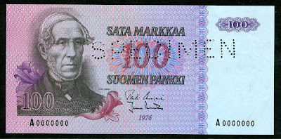 FINLAND 100 old MARKKAA SPECIMEN banknote