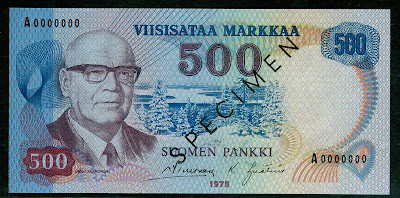 Finland 500 MARKKAA SPECIMEN banknote Vuokatti hill skiing resort