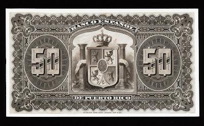 Puerto Rico paper money 50 Pesos Bill note