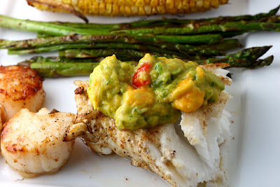 Sea Bass and Scallop Grill with Mango Guacamole - Coastal Cooking