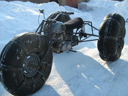 Как сделать из мотоцикла урал снегоход
