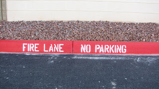 Red Painted Curb for Fire Lane