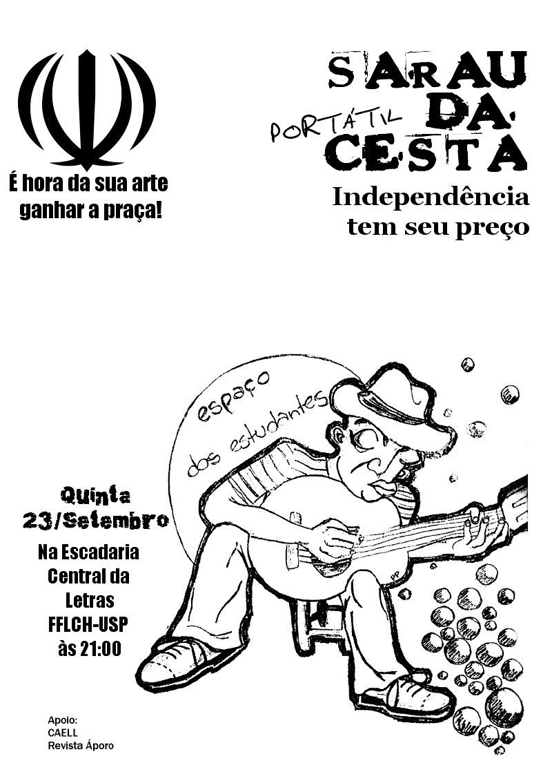Sarau Portátil da Cesta Dia 23 de setembro (quinta) às 21h - Escadaria Central da Letras-FFLCH /USP