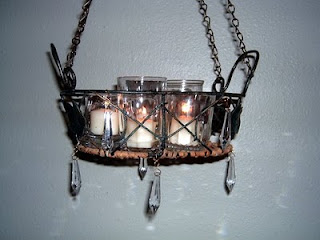S c r a p scraps creatively reused and recycled art Hanging candle chandelier non electric