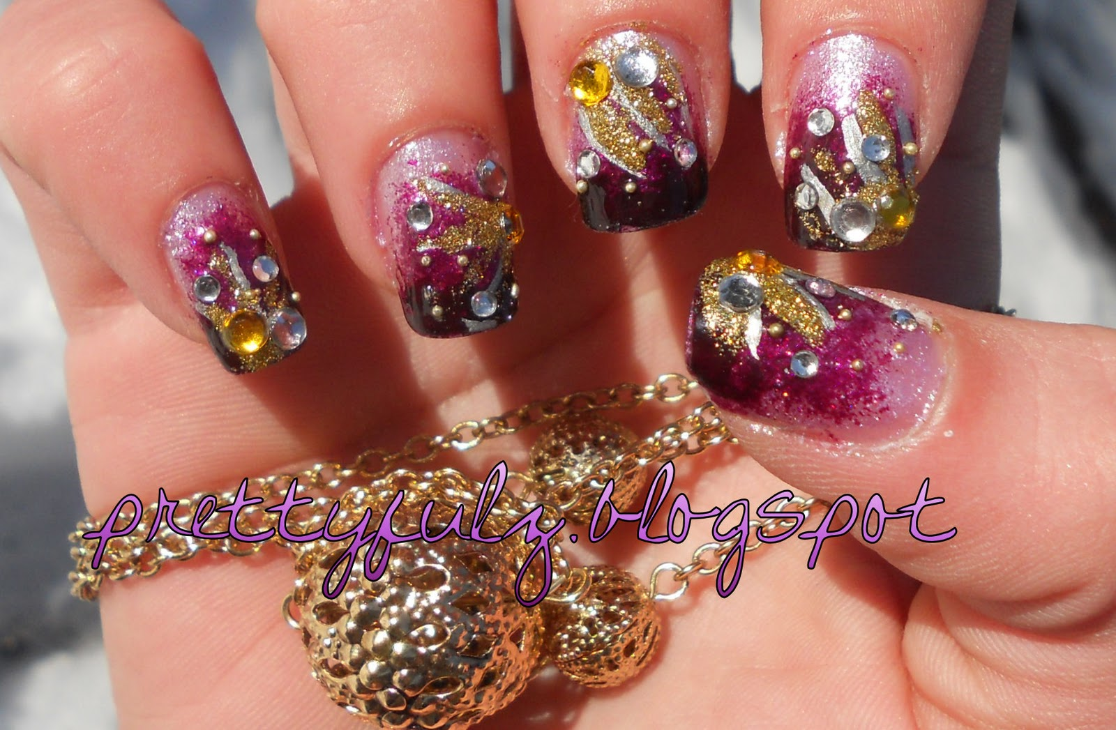 CUTE NAIL ART DESIGN  Purple Deco Nail Art