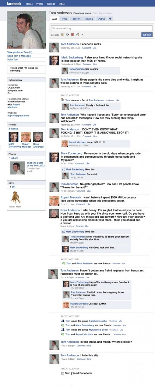 Tom Anderson Myspace VS Mark Zuckerberg Facebook?