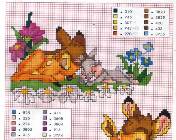 Punto croce bambi 3 for Disney punto croce schemi gratis
