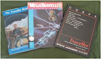 The Traveller Book (Classic Traveller), MegaTraveller, and GURPs Traveller rule books