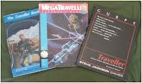 The Traveller Book (Classic Traveller), MegaTraveller, and GURPs Traveller rule books