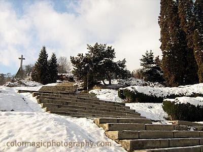 Ice covered stairs at the citadel-winter scene