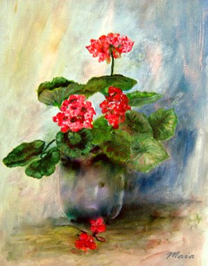 Geranium flowers in a vase-oil painting