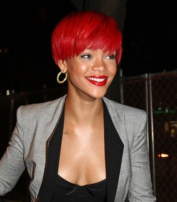 rihanna red hair curly hair. photoshoot red pain, performance, red, rihanna, rio, stage curly hair
