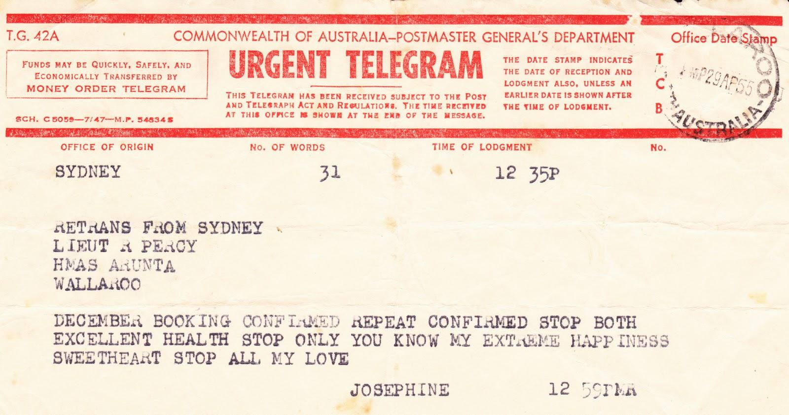 Australian telegram template
