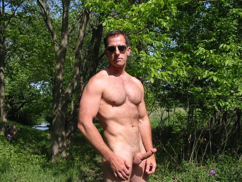 Naked daddy in wood