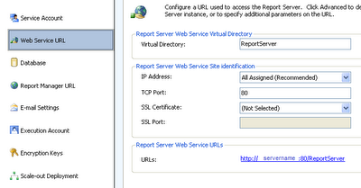 Reporting Services Configuration Manager - Web Service Url