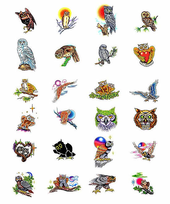 Choose your own owl tattoo design from Tattoo-Art.com.